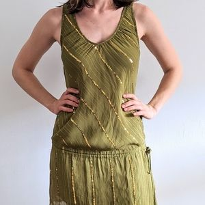 1990's Avocado Drop Waist Dress with Gold Sequins